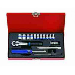 SOCKET SET 1/4``DR METRIC 4-13MM 16PC