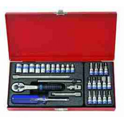 SOCKET SET 1/4``DR WITH BITS 4-13MM 31PC