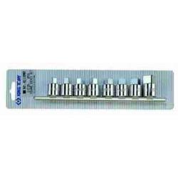 SOCKET SET 8PC 1/2``DR SQUARE 8-19MM ON A RAIL
